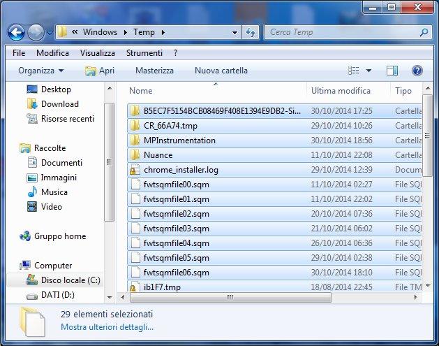 Cartella Temporanea Sistema selezione tutti file