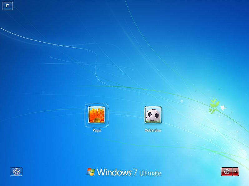Desktop di Windows con 2 utenti