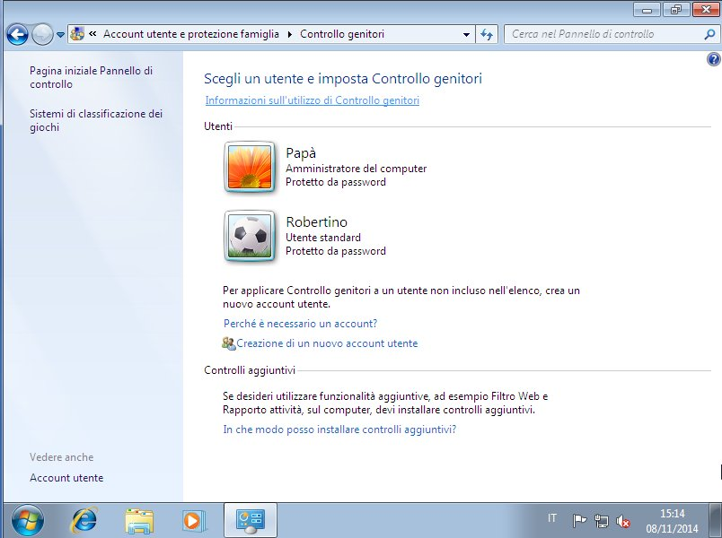 Finestra Controllo Genitori di Windows