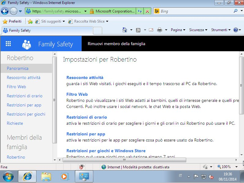 Resoconto Utente Windows Live Family Safety