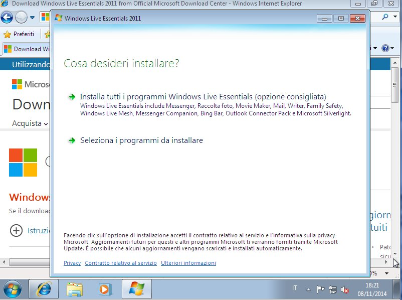 Windows Live Essential Selezione Programmi