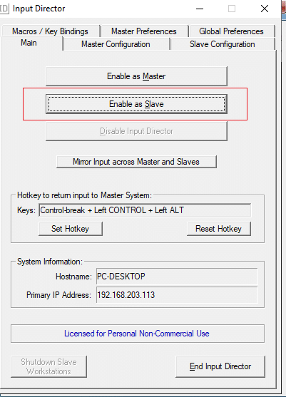 Configurazione Slave Input Director