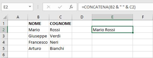 Concatenazione celle con funzione in Excel