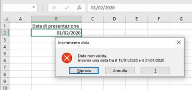 Data di convalida su Excel