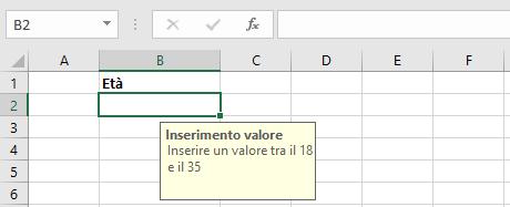 Opzioni di convalida su Microsoft Excel