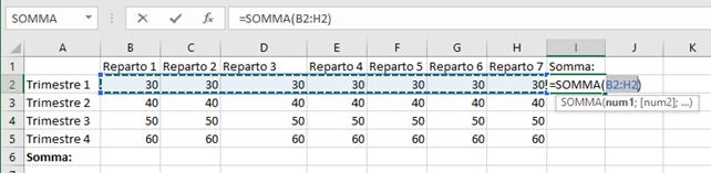 Funzione Somma su Microsoft Excel
