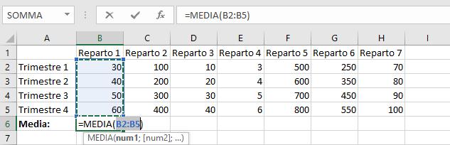 Funzione Media su Microsoft Excel