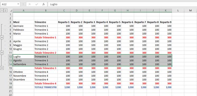Microsoft Excel Raggruppare Righe e Colonne