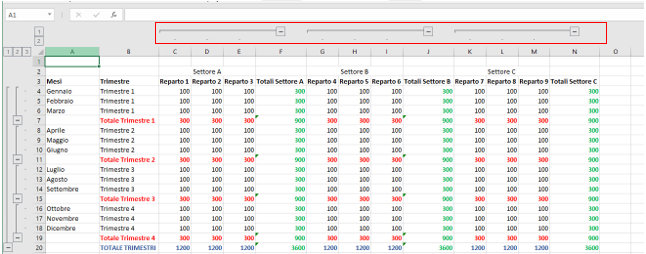 Raggruppare Righe e Colonne su Excel